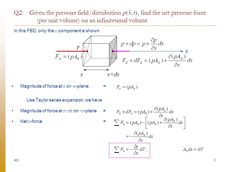 Abj 422 pressure pressure force and fluid motion without flow abj q2 given the pressure fielddistribution find the net pressure force ccuart Image collections