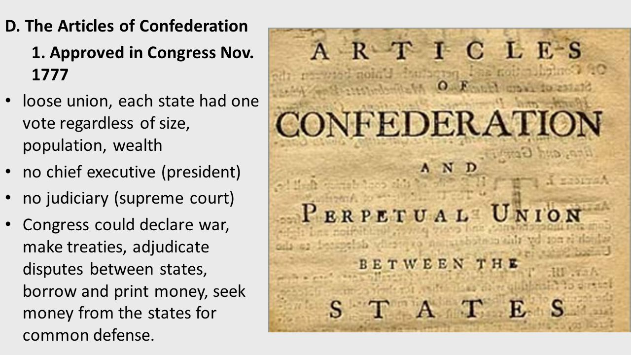 articles of confederation frq Chapter nine: articles of confederation and the constitution c o nt e nt s.