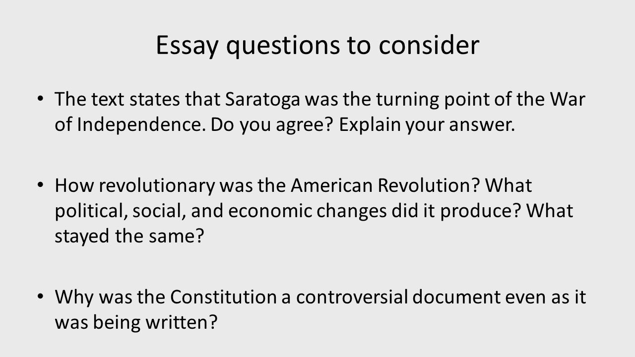 Essay questions about the revolutionary war