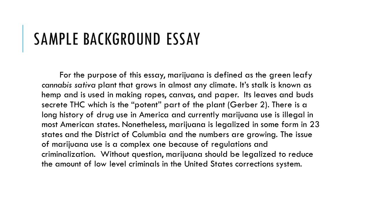 Background in essay writing