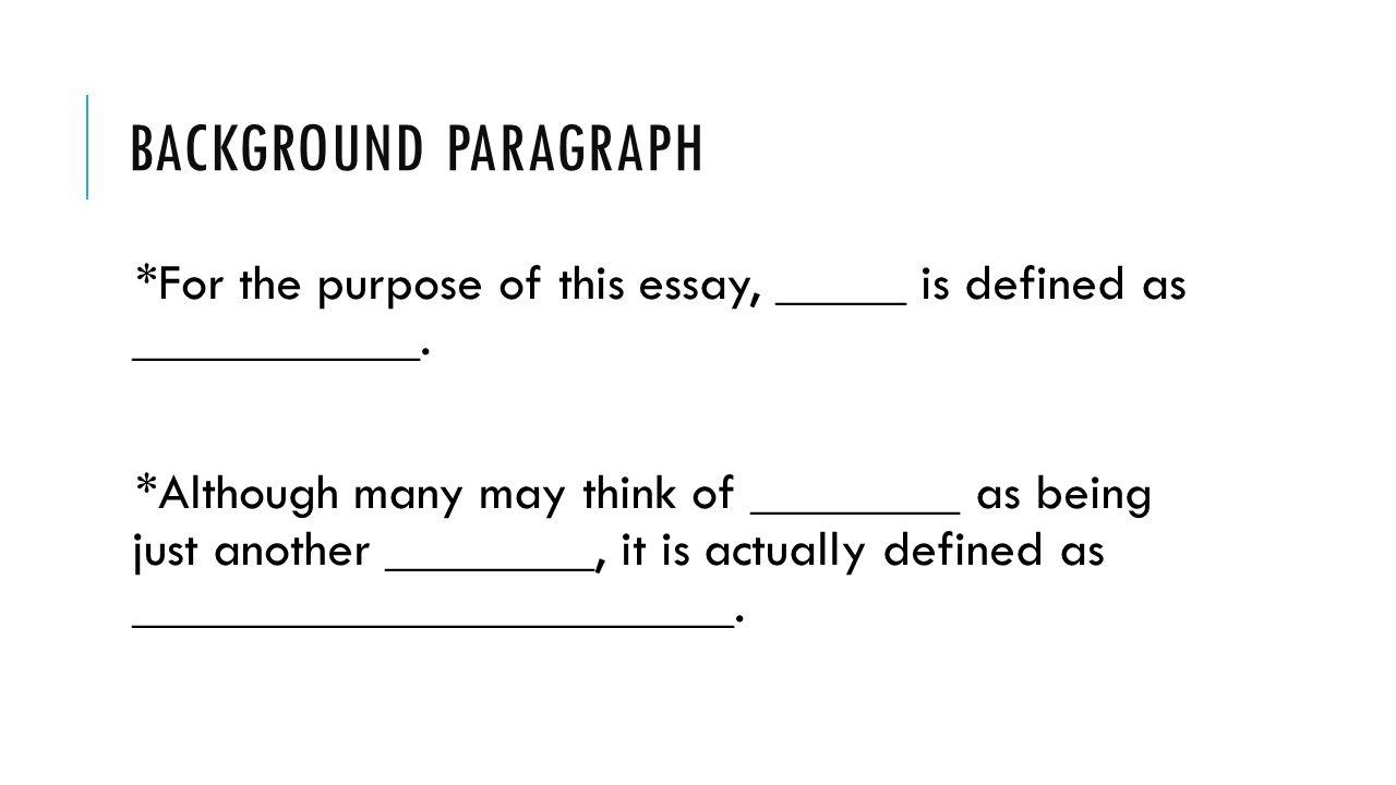 essay background paragraph