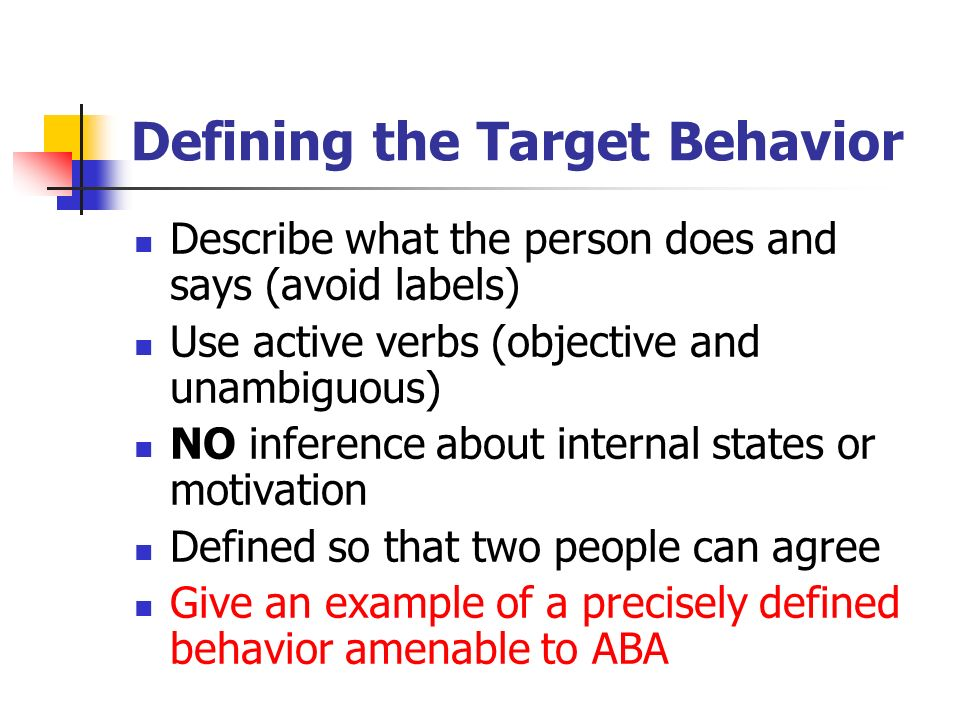 Defining The Target Behavior