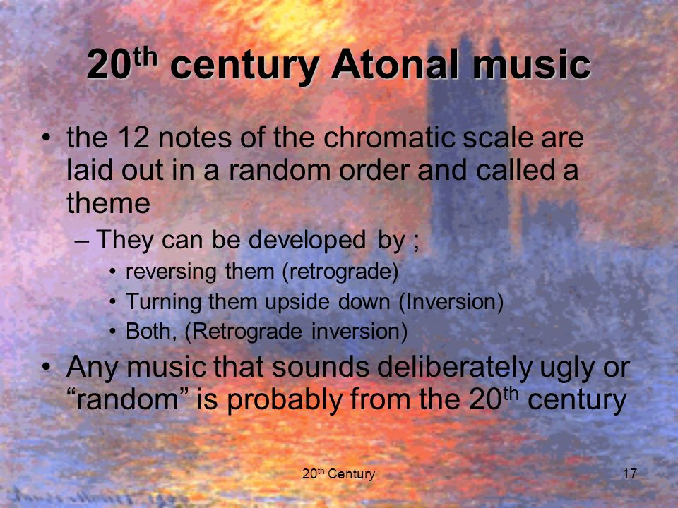 aleatoric music of the 20th century music essay 20th century and atonal music essay sample 1 between 1900 and 1925, traditional norms were violated or abandoned in art, music, and literature  before the 20th .