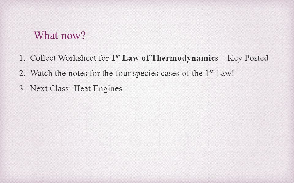 First Law of Thermodynamics ppt download – Thermodynamics Worksheet