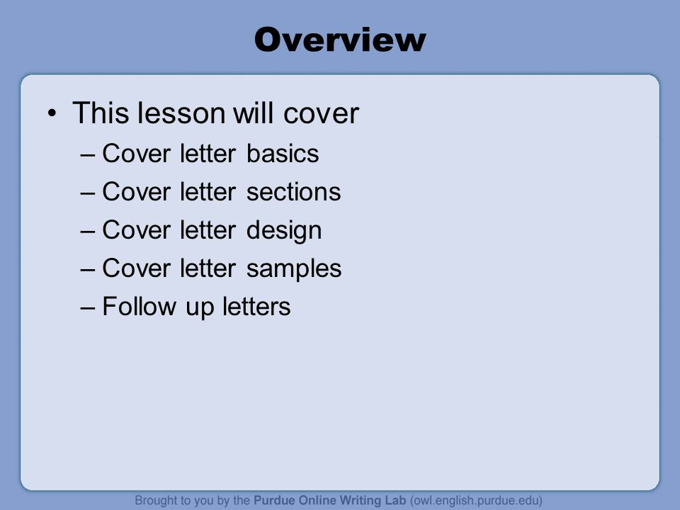 Overview This Lesson Will Cover Cover Letter Basics  Creating A Cover Letter