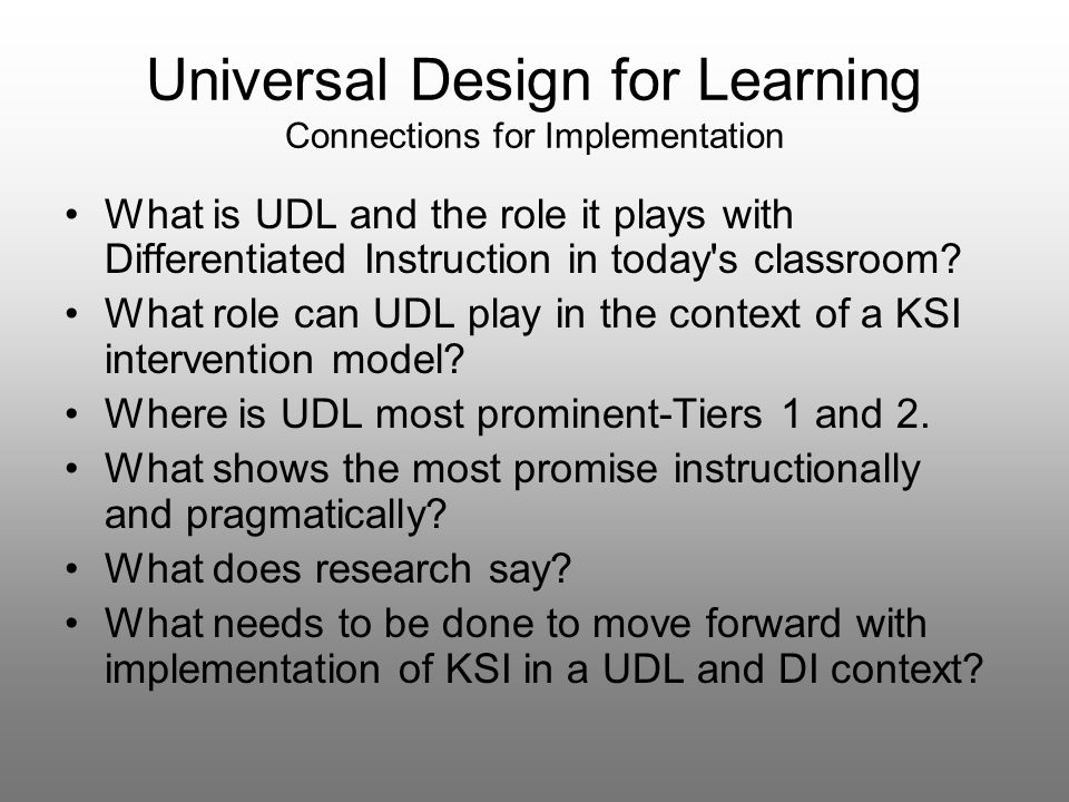 Universal Design For Learning Connections For Implementation Ppt