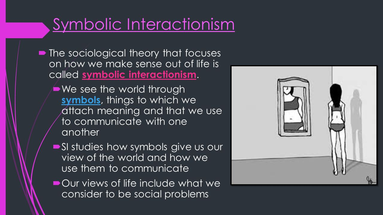sembolic interactionism Symbolic interactionism by: sarah broomer what is symbolic interactionism - symbolic interactionism is a psychological theory that attempts to explain how individuals choose how they act based on their perceptions of themselves and of others.