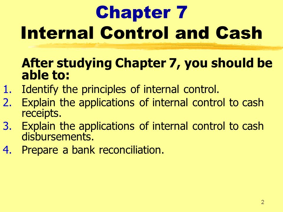 internal controls 2 essay Frequently asked questions about internal control no statement that internal controls internal control is the framework established by the.