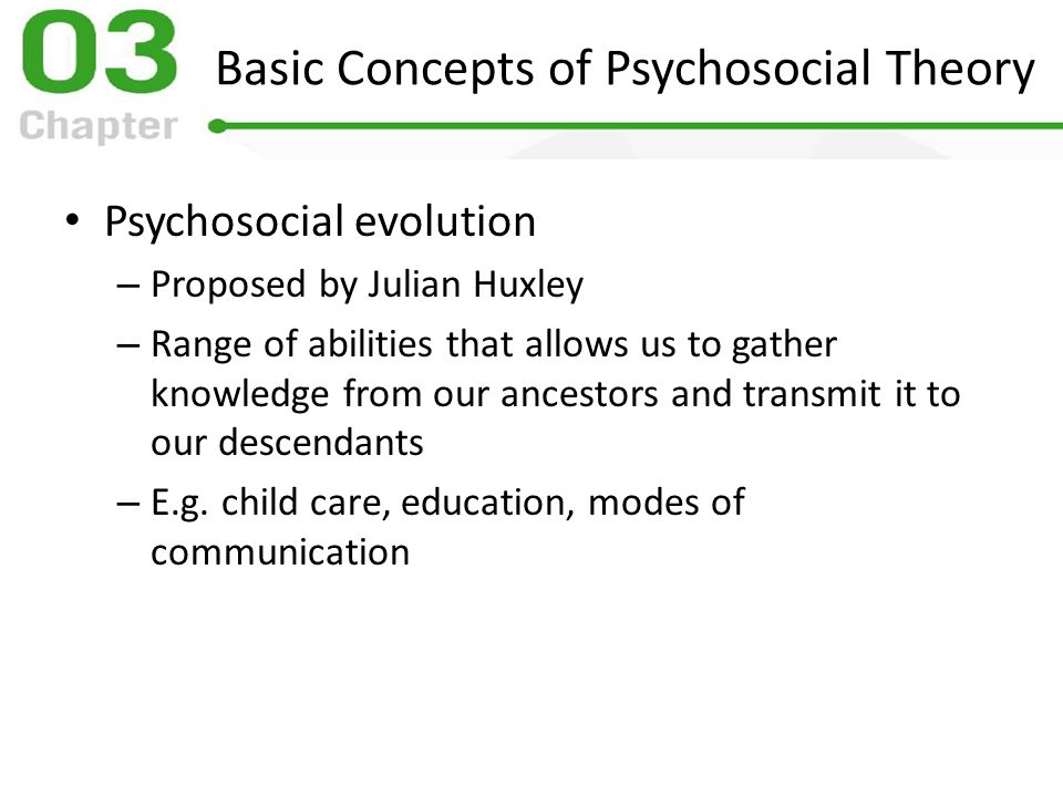 six concepts of psychosocial theory Psychosocial development with particular reference to generativity, the seventh stage (1992) masters theses psychosocial maturity is a functionof chronological development for the first six stages of erikson's model (for generativity is a concept which is potentially very wide-ranging, encompassing the nurturance.