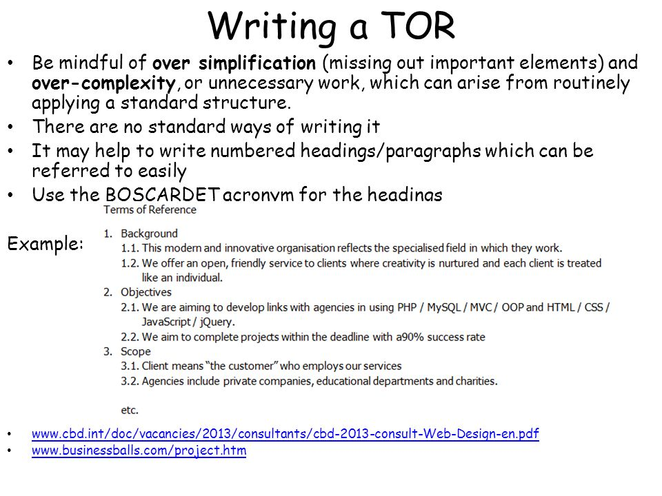 Project Terms of Reference (TOR) Template