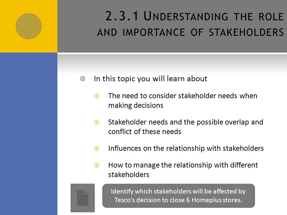 tesco stakeholder The stakeholders in an organisation may be interested in financial aspects of an   table 2 summarises stakeholders' main needs from and interests in an.