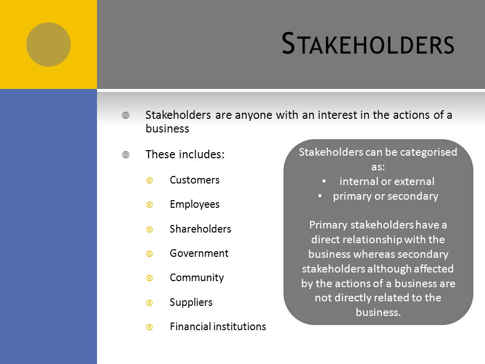 internal external stakeholders in tesco Explains the term 'stakeholder' and identifies three types of stakeholder of tesco   difference between internal and external stakeholders and concluded that,.