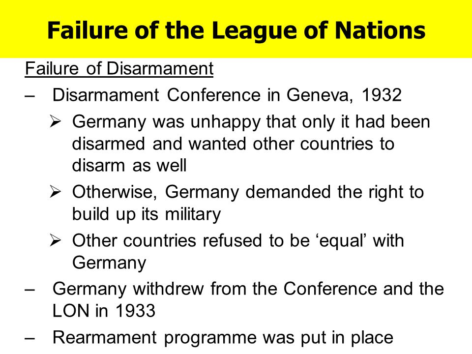 league of nations failure Causes of failure of league of nations league of nations was created after wwi and was first comprehensive organization which came into existence on jan10 1920  with hopes that this organization may.