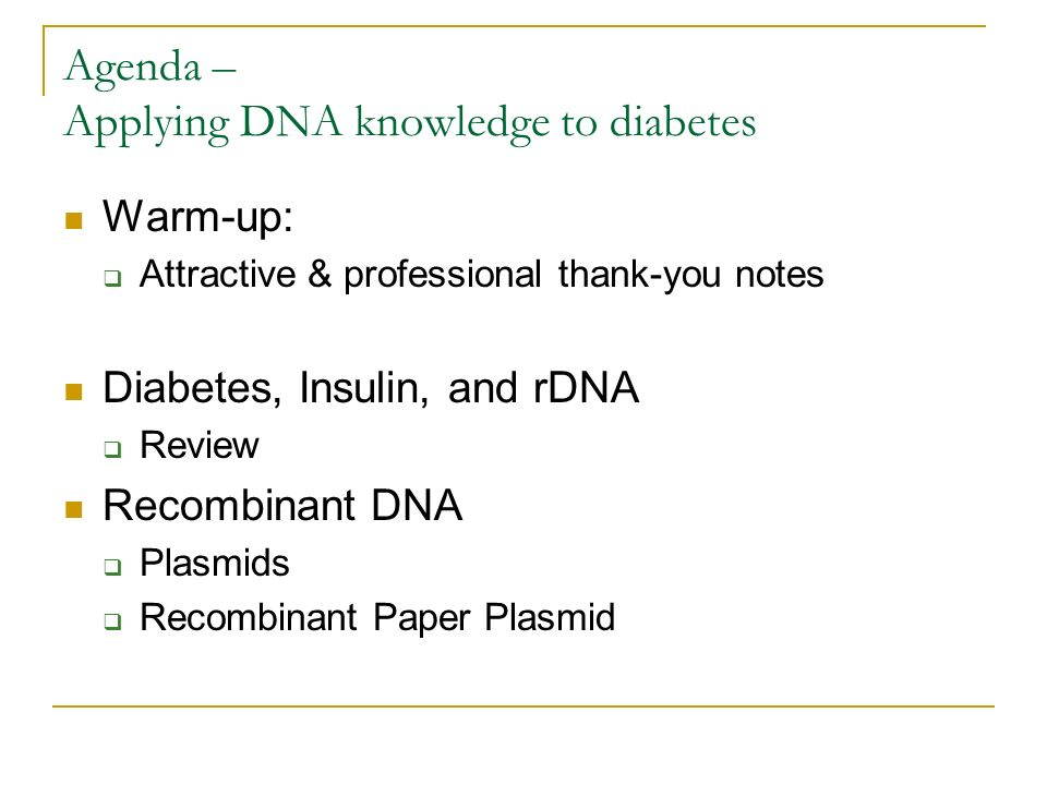 Agenda  Applying Dna Knowledge To Diabetes  Ppt Download
