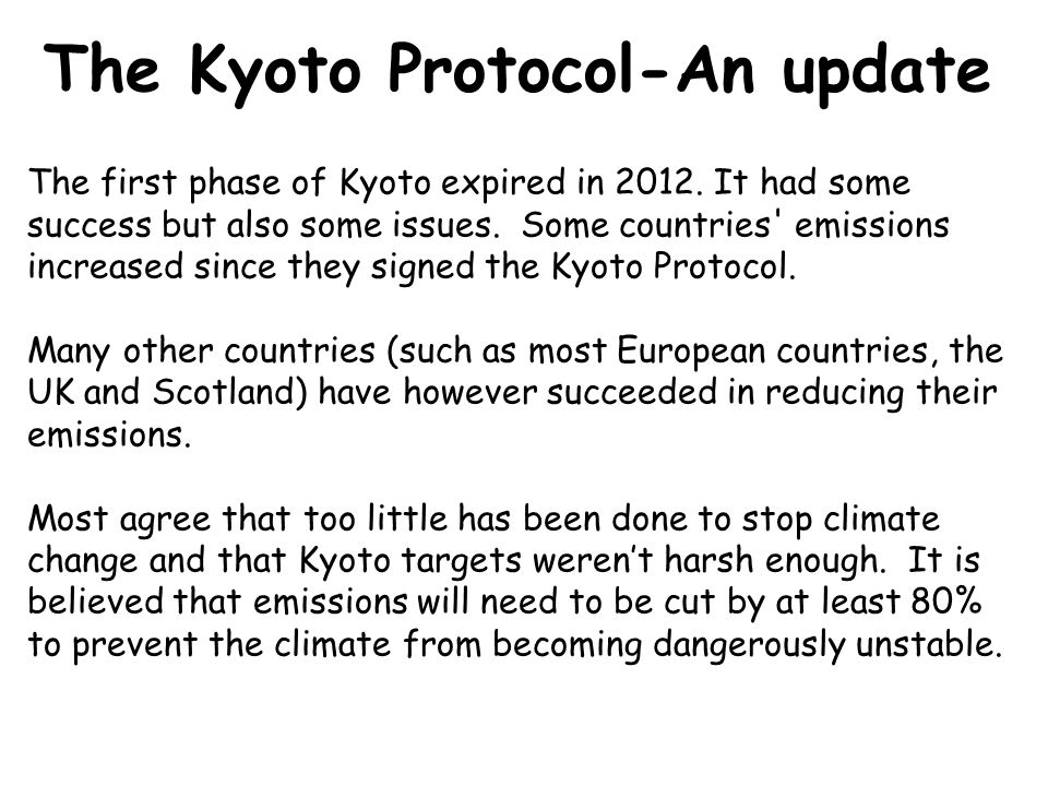the issues of the kyoto protocol as a solution to climate change Nzier – kyoto protocol: issues for new zealand's participation  the likely  evolution of climate change policies internationally, and what that means  let  us consider the example of dairy products to explain how we sought to answer  these.