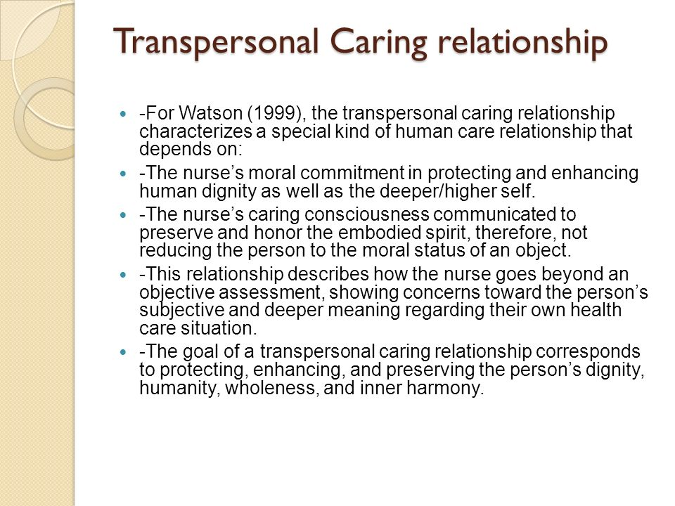 the transpersonal caring relationship