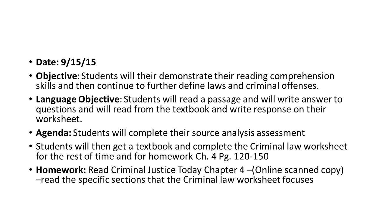 Worksheets Criminal Law Worksheets criminal justice date 92915 ppt download 17 date