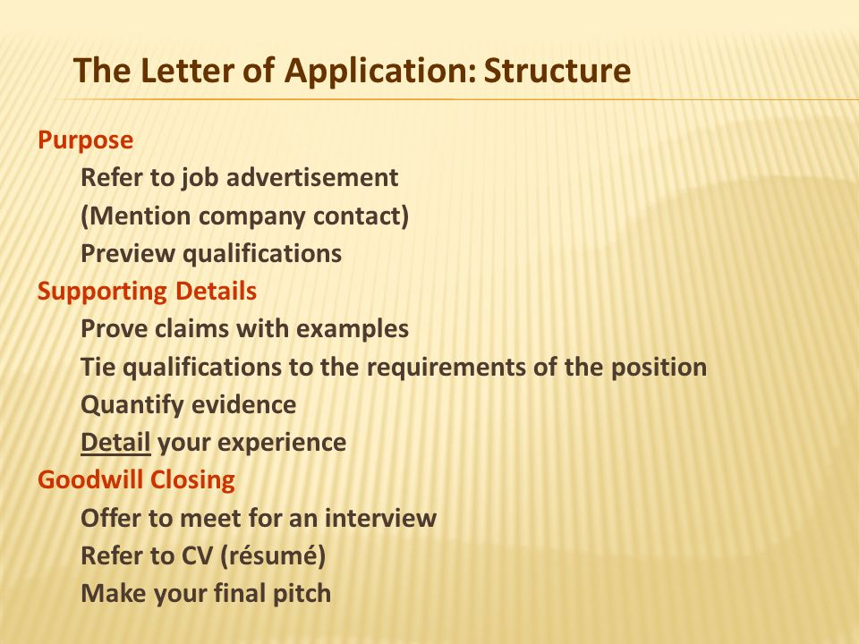 the letter of application