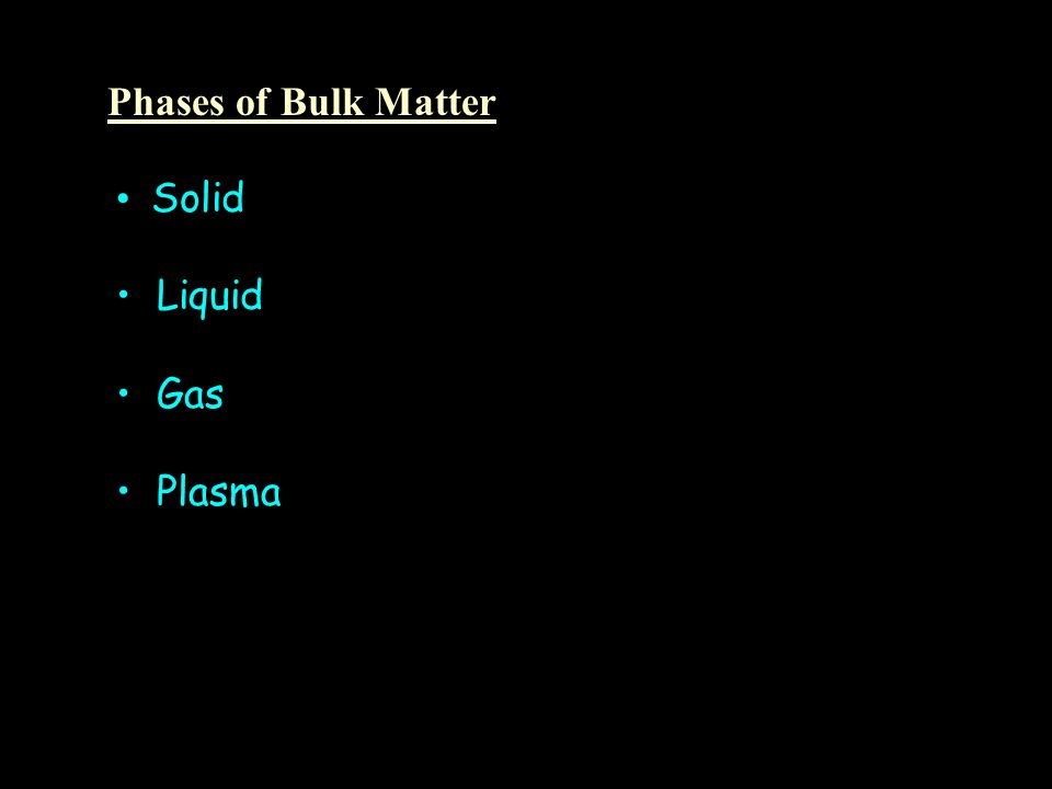 Phases of Bulk Matter Solid Liquid Gas Plasma