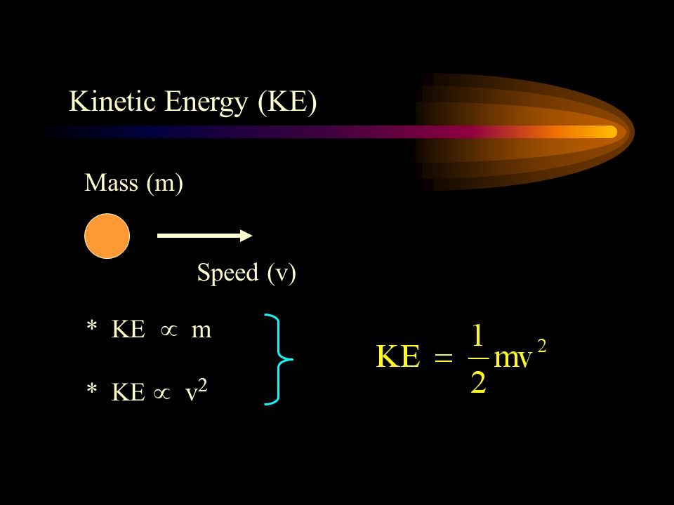 Kinetic Energy (KE) Mass (m) Speed (v) * KE  m * KE  v2