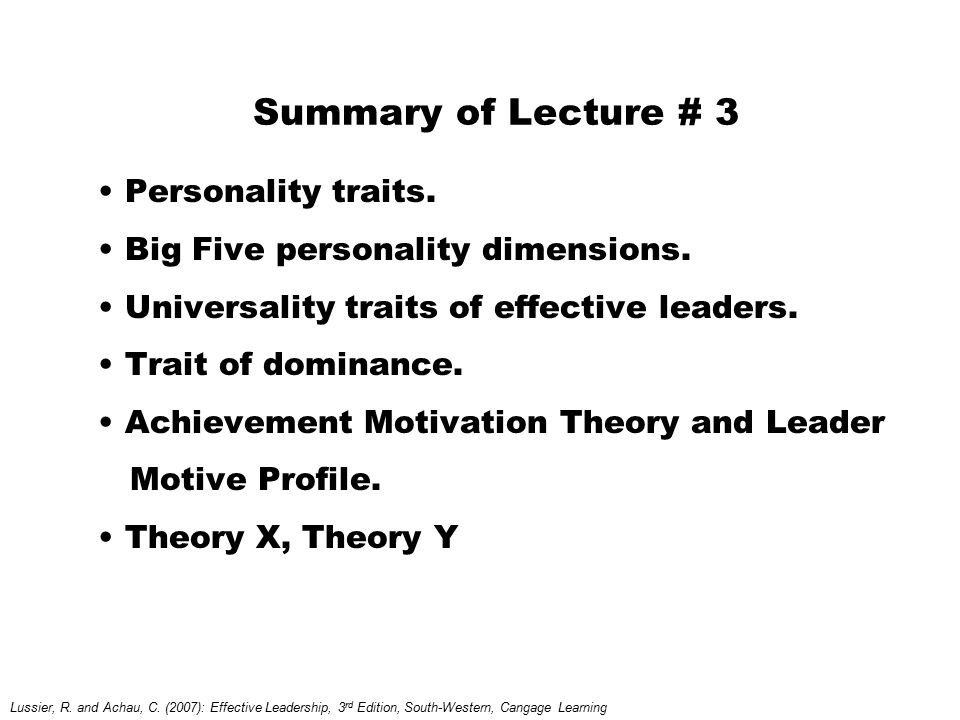 Summary of Lecture # 3 Personality traits.