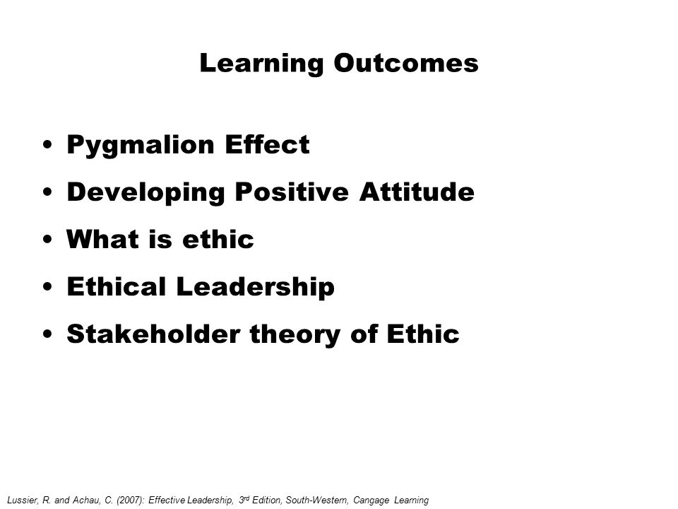 Developing Positive Attitude What is ethic Ethical Leadership