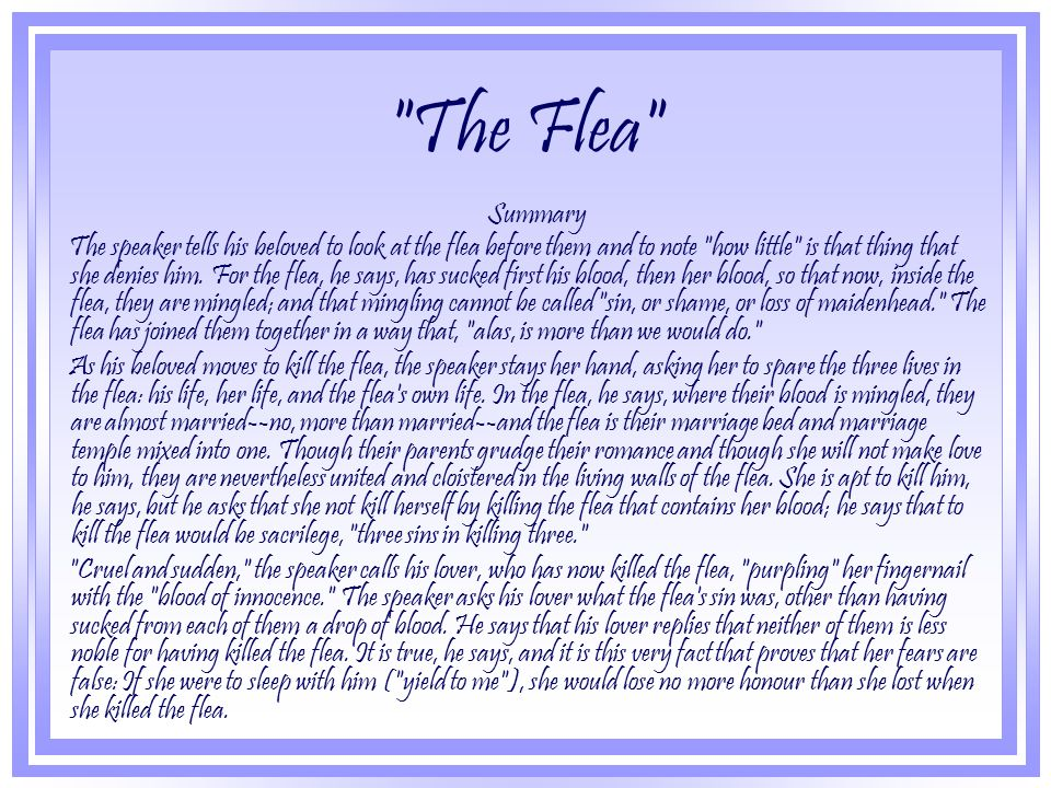 an analysis of john donnes poem the flea The poem toward that kind of love and toward the nature and purpose of love in general john donne a john.
