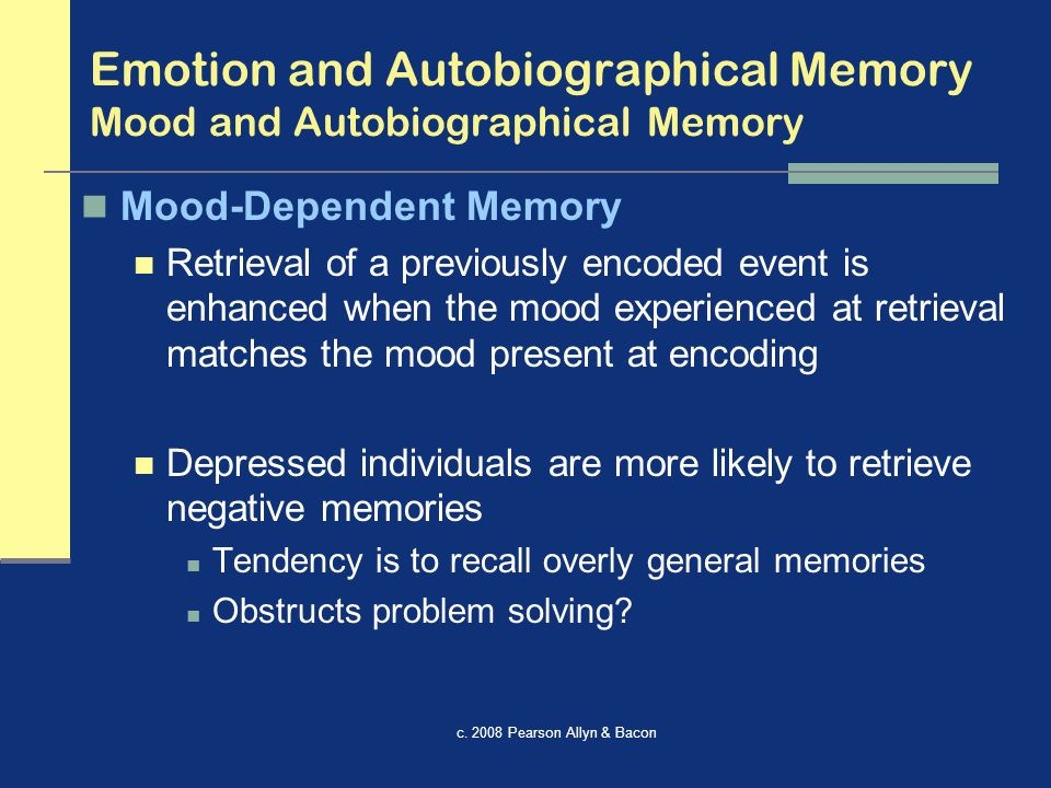autobiographical memory Available in: hardcover providing an unusual perspective on self and social memory different from the norm in social cognitive research, this volume.