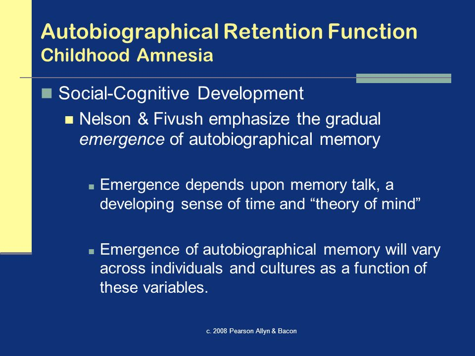 the function of autobiographical memory Abstract the role of emotion in the functions of autobiographical memory wendy-jo wood, phd concordia university, 2005 prior research indicates that people call on autobiographical memories to serve.