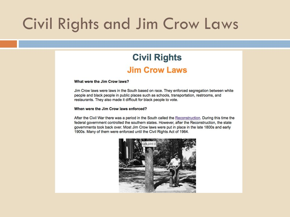 privilege racism and jim crow laws essay Free essay: racism is the mistreatment of a group of people on the basis of essay about racial privilege in america past and present via jim crow laws.