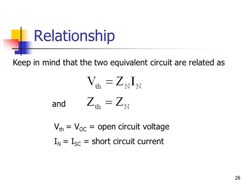 thevenin equivalent voltage and resistance relationship