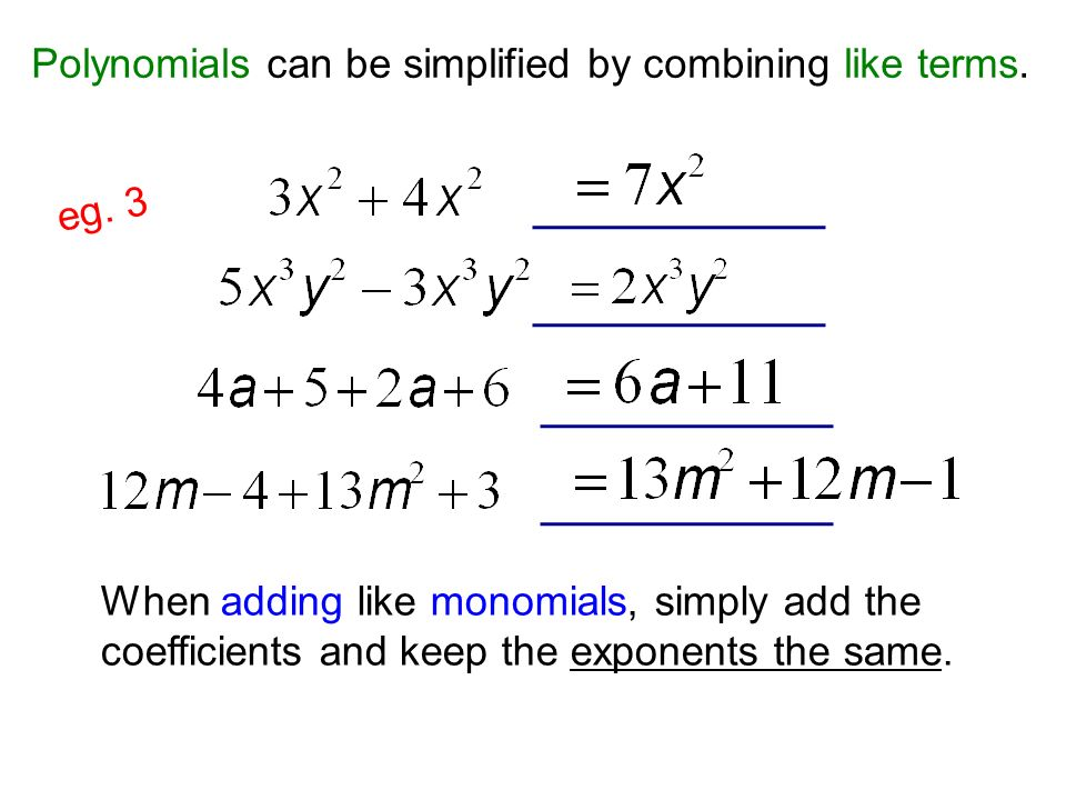 Adding and Subtracting Polynomials - ppt download