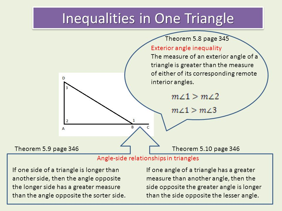 Chapter inequalities in one triangle 5 4 indirect proof 5 - Exterior angle inequality theorem ...
