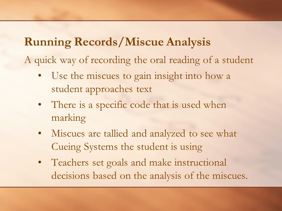 Oral Reading Miscues 31