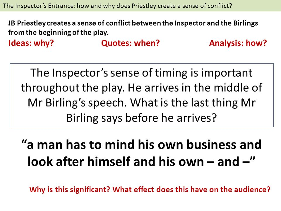 the conflict between generations in an inspector calls a play by jb priestley Essays & papers how does jb priestley present the there are differences between the generations when concerning throughout the play 'an inspector calls.