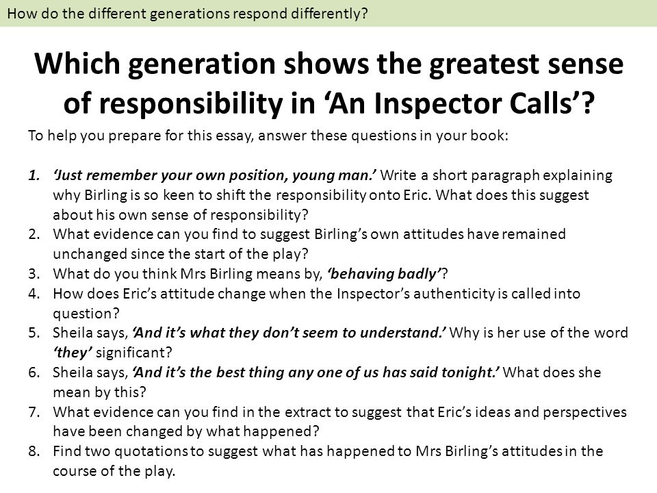 The Theme of Responsibility in An Inspector Phone calls Essay