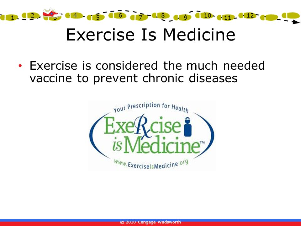 Exercise Is Medicine Exercise is considered the much needed vaccine to prevent chronic diseases