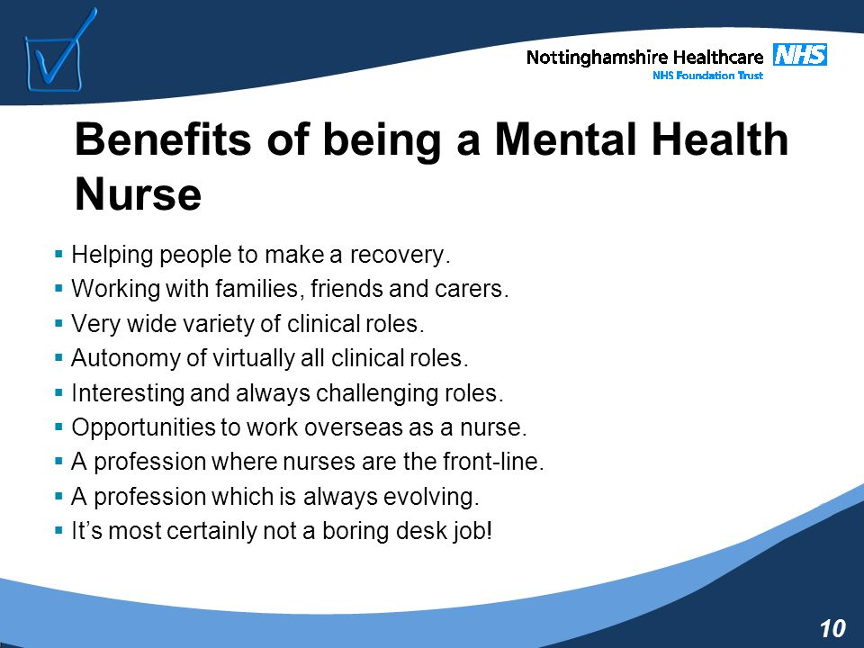 a career in mental health nursing essay How to choose the right mental health career for you three parts: learning about mental health career options weighing your options selecting the right mental health career for you community q&a the field of mental health is vast and growing options range from informal life coaches to professional psychiatrists, with dozens of positions in between.