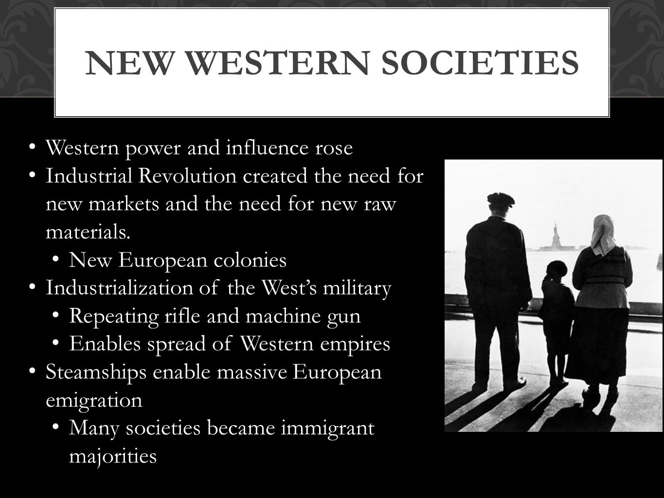 industrial revolution s impact on western civilization Western civilization on the industrial revolution and abolition of slavery western civilization week 16 essay western civilization- education in england and classical liberalism.
