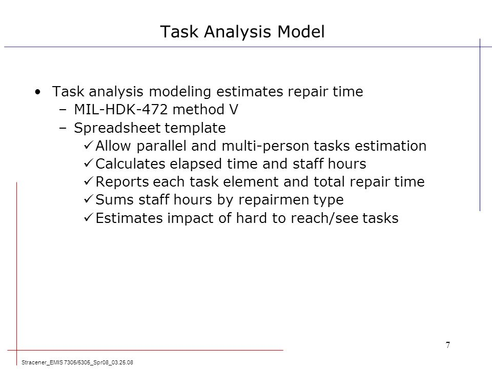 System Maintainability Modeling & Analysis Leadership In