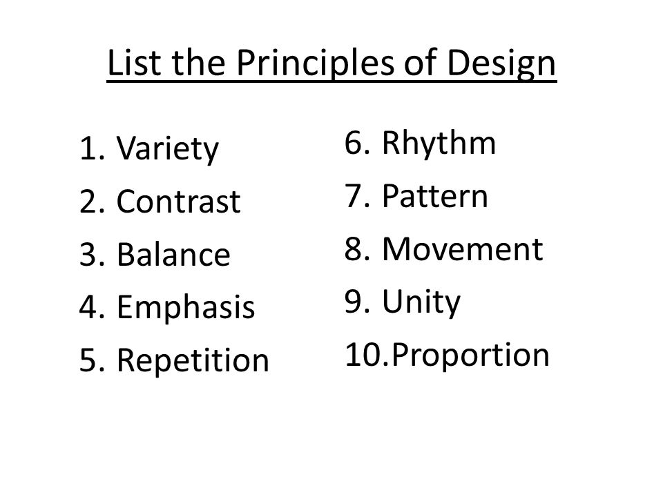 Principles Of Design List : Principles of design for photography ppt video online