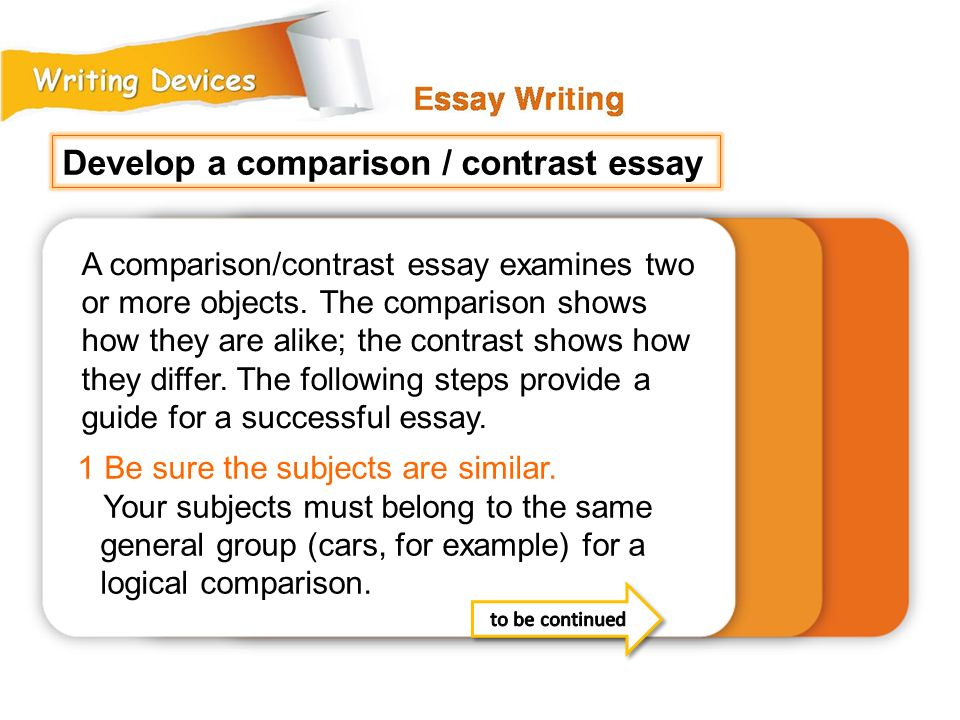 Which of the following should be your last step when writing a compare-and-contrast essay
