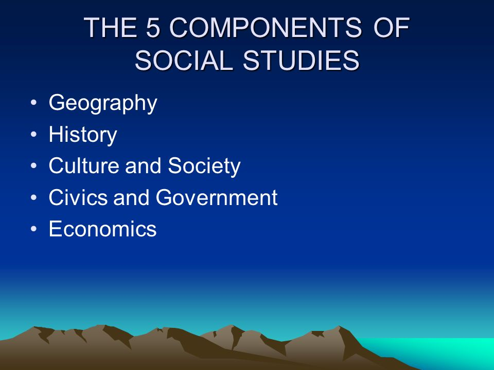 THE 5 COMPONENTS OF SOCIAL STUDIES