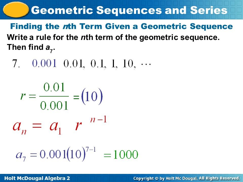 Write a rule for the nth term of the sequence