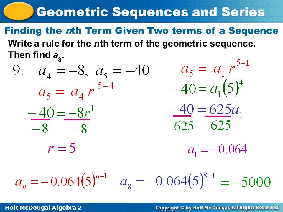 How do you write an equation for the nth term of a geometric sequence