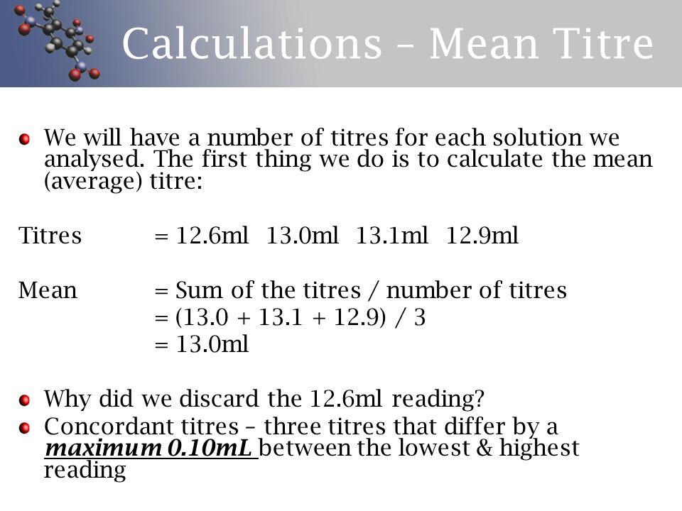 Calculations – Mean Titre