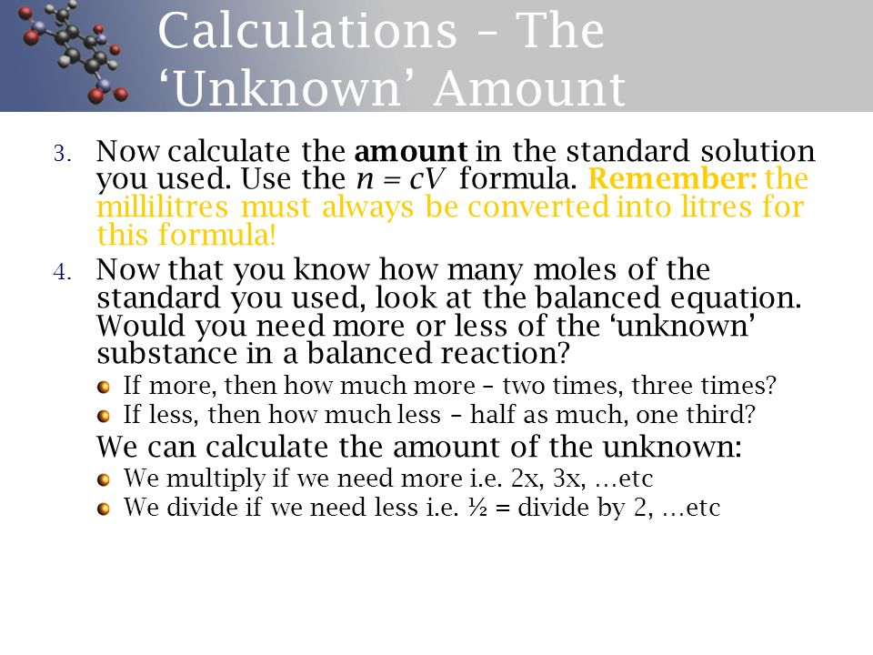 Calculations – The 'Unknown' Amount