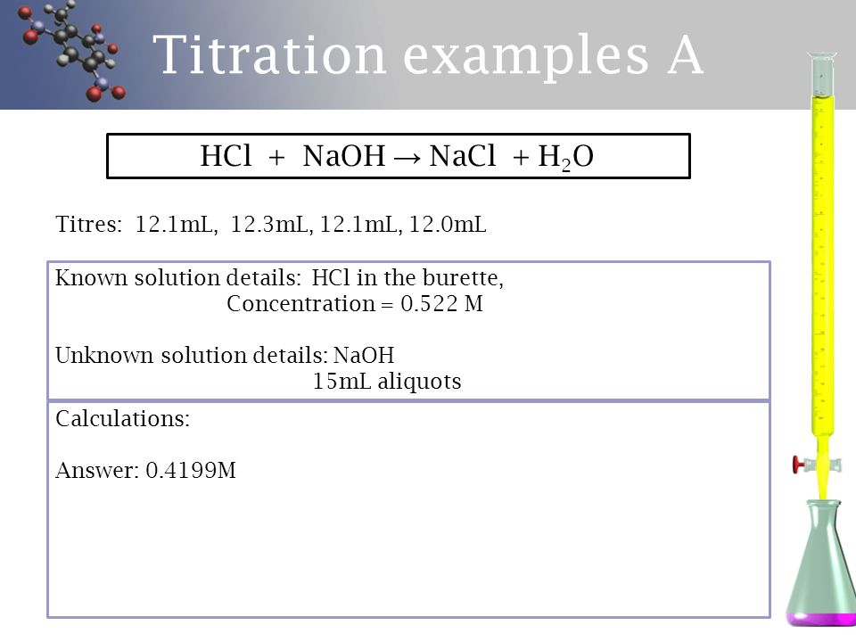 Titration examples A HCl + NaOH → NaCl + H2O