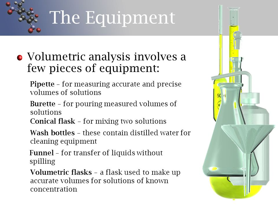 The Equipment Volumetric analysis involves a few pieces of equipment: