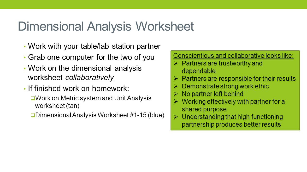 Dimensional analysis worksheet with work